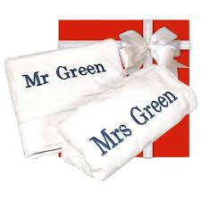 wedding gift mr mrs personalised towels
