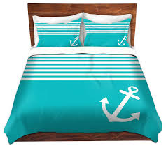 dianoche duvet covers twill by organic saturation teal love anchor nautical