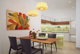 recessed lighting ideas for kitchen. small kitchen decorating ideas using modern recessed lighting combined with contemporary dining room colorful abstract painting and unique pendant for i
