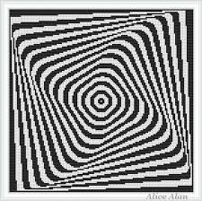 Abstract Art Black And White Patterns Cross Stitch Pattern Abstract Geometric Black White 3d Optical Effect Painting Pillow Counted Cross Stitch Pattern Instant Download Epattern