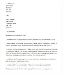 9 Resignation Letter Samples With Notice Period Malawi Research