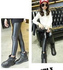 4 14t girls leather pants girl legging thicken pants warm kids legging leggins black children legging