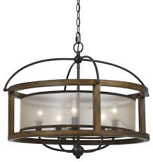 mission 26 wide 5 light round pendant chandelier wood metal traditional chandeliers by designer lighting and fan
