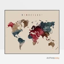World Map Posters Wanderlust World Map Wall Art World Map Poster Watercolor World Map Large Travel Map Map Watercolour Artprintsvicky