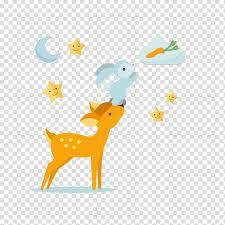 Sika Deer Illustration Summer Dream Transparent Background