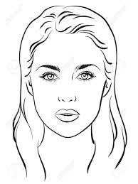 drawing 10 at template 61784237 beautiful woman portrait face chart makeup artist blank