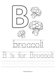 B is for Broccoli Worksheet - Twisty Noodle