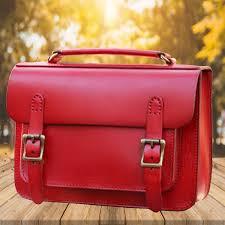 women s handmade orange leather satchel bag