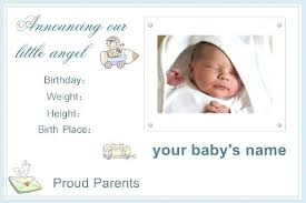 Baby Boy Announcements Templates Baby Announcement Templates Ba Birth Announcements Templates For