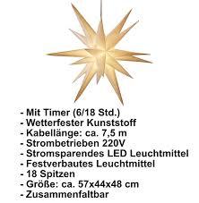 3d Leuchtstern Mit Warm Weißer Led Beleuchtung Für Innen Und Außen Geeignet Hängend 75 M Zuleitung Ca 57x44x48 Cm Weiß