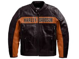 harley davidson mens black orange classic riding leather jacket m 98014 10vm new