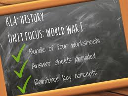 World War One WWI - Unit Vocabulary - 4x Worksheets with answer ...