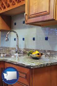 a granite countertop with washington icon