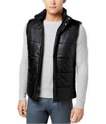 Calvin Klein Mens Faux Leather Puffer Vest