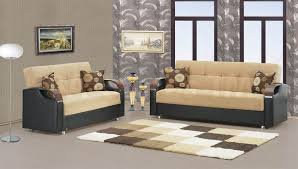 bobs furniture living room sets. modern room decoration with grey floral wall and bobs furniture living sets two pieces sofa cream wingback top black leather fabric base
