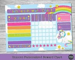 Activity Chart Kids Unicorn Personalised Reward Chart Behaviour Chore Kids Activity Chart Potty Ebay