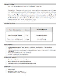 Resume For M Tech Freshers Resume Format For Mba Freshers Free