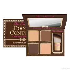 too faced face makeup cocoa contour chiseled to perfection palette 4 highlighters concealer blushes too faced cocoa powder foundation bronzer and