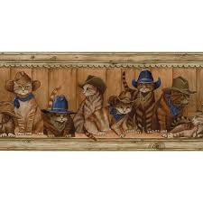 roth 10 14 blue cowboy cats prepasted wallpaper border at com 900x900