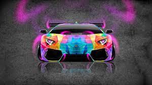 Neon car, Lamborghini aventador