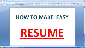 Create A Simple Resumes How To Make An Simple Resume In Microsoft Word
