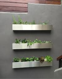 floating stainless steel hanging planter box succulent wall