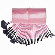 professional pink makeup cosmetic brush kit 32pcs black bristles brush set makeup brush toiletries tools