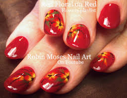 Easy DIY Red Flower Nail Art - YouTube