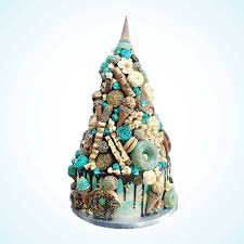 Contemporary Unique Blue Croquembouche Wedding Cake