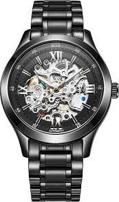 angela bos men s automatic mechanical pointer skeleton watch black angela bos men s automatic mechanical pointer skeleton watch black dial stainless steel band amazon co uk watches
