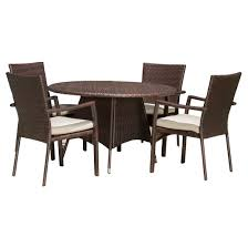 dining chairs with cushions. palmers 5pc wicker patio dining set with cushions - brown christopher knight home chairs