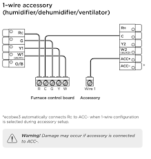 ecobee3 wiring diagrams ecobee support wiring diagram for furnace 1 wire accessory (humidifier dehumidifier ventilator)