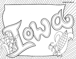 Iowa Coloring Page By Doodle Art
