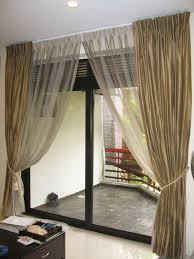furniture amazing brown modern fabric sliding glass door curtain design ideas with frame wood glass