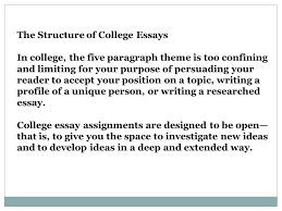 understanding your reader s expectations the college essay  the structure of college essays in college the five paragraph theme is too confining and