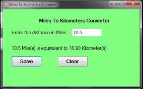 Conversion Chart Miles To Kilometers Miles To Kilometers Converter In Visual Basic Net By Jake R