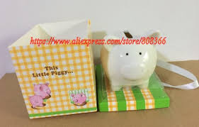 5 pcs lot baby birthday decoration gift of this little piggy ceramic piggy bank baby souvenirs for coin bank and party favors in party favors from home
