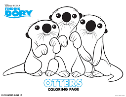 Printables Cartoon Finding Dory Otters Coloring