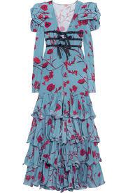 Zingara Ruffled Floral Print Silk Crepe Gown