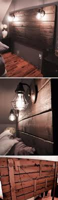 rustic wooden headboard with lights