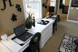 home office with two desks. Bright Home Office Two Desks With