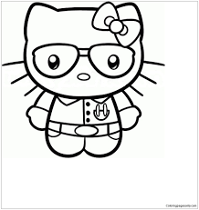 Print hello kitty coloring pages angle | hello kitty angel valentine coloring page. Hello Kitty As A Nerd Coloring Page Free Coloring Pages Online