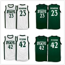 2019 23 Jason Richardson 42 Morris Peterson Michigan State Spartans College Retro Basketball Jerseys Mens Stitched Custom Any Number Name From