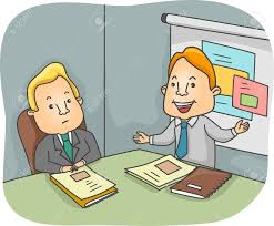 Illustration Of A Man Presenting A Business Proposal Stock Photo