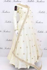 White Designer Outfits Elegant Off White Soft Silk Designer Outfit With Appealing
