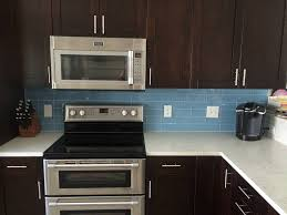 Sky Blue Glass Subway Tile Kitchen Backsplash With Dark 2x2 Glass Tile