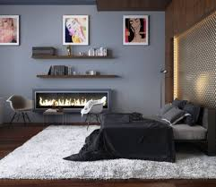 elegant modern bedroom in grey with thick white area rug