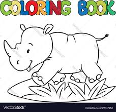 coloring book of little rhino vector image