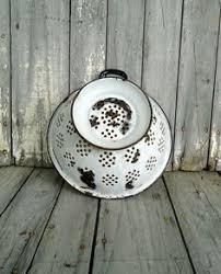 reserved for manda vintage enamel kitchen sink strainer white