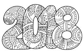 new year 2018 coloring page doodle